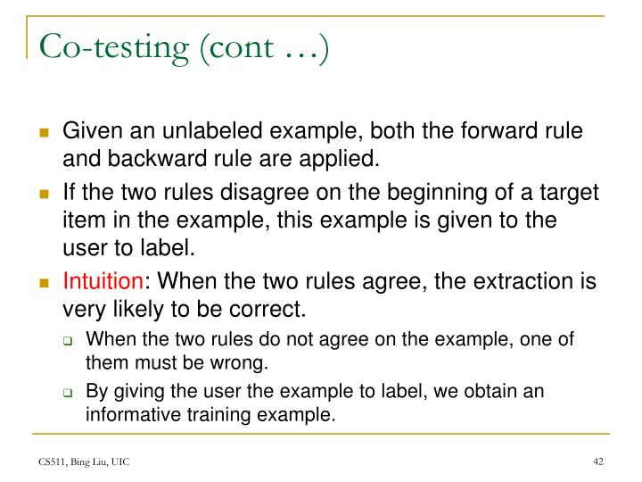 Co-testing (cont …)