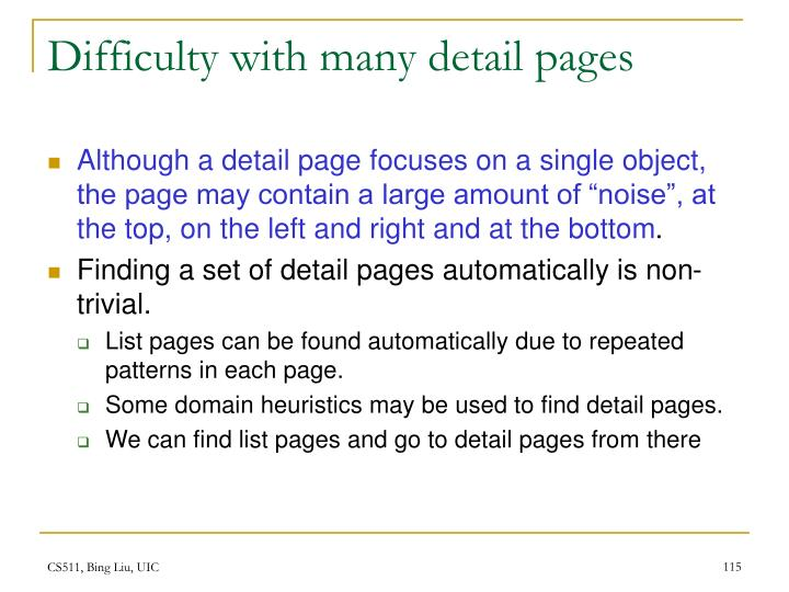 Difficulty with many detail pages