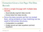 extraction given a list page flat data records