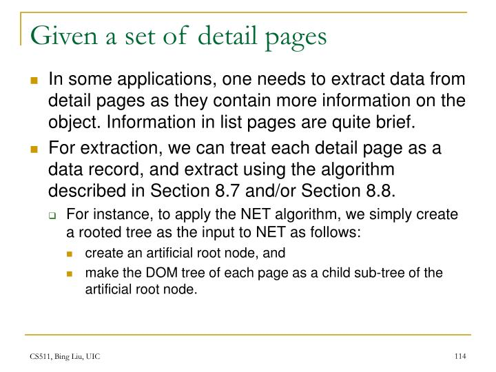 Given a set of detail pages