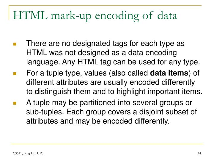 HTML mark-up encoding of data