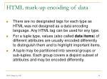 html mark up encoding of data