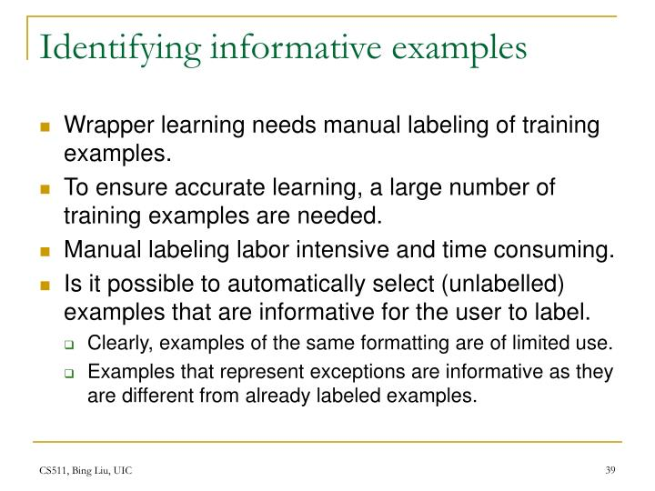 Identifying informative examples