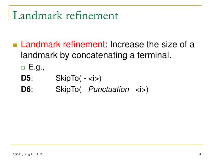 Landmark refinement