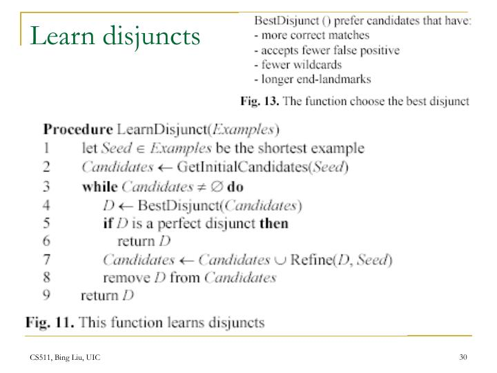 Learn disjuncts
