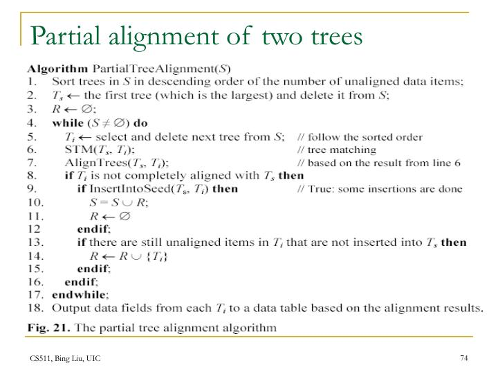Partial alignment of two trees
