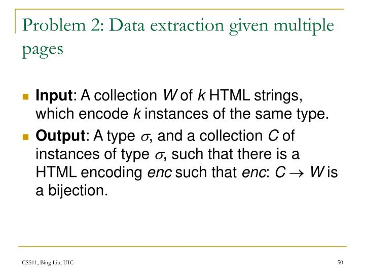 Problem 2: Data extraction given multiple pages