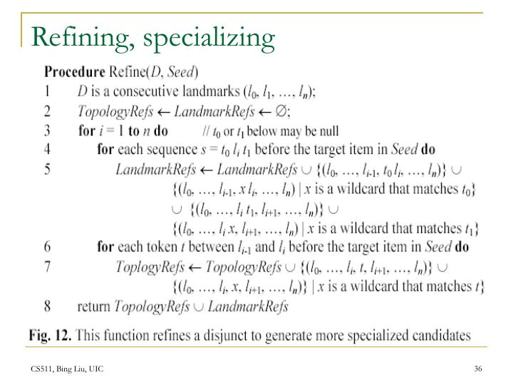 Refining, specializing