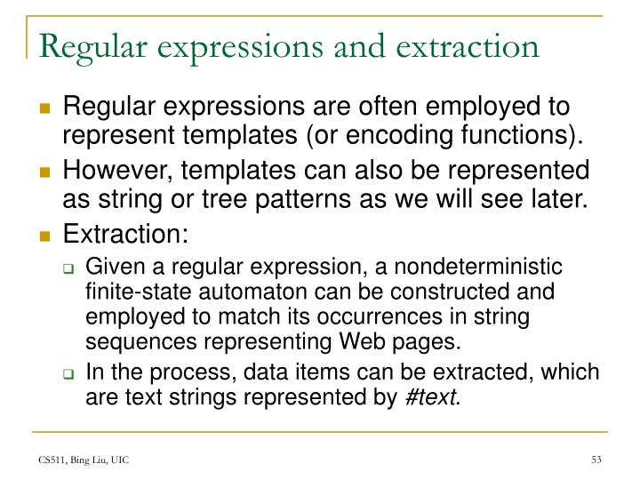 Regular expressions and extraction