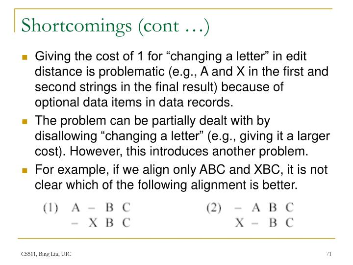 Shortcomings (cont …)
