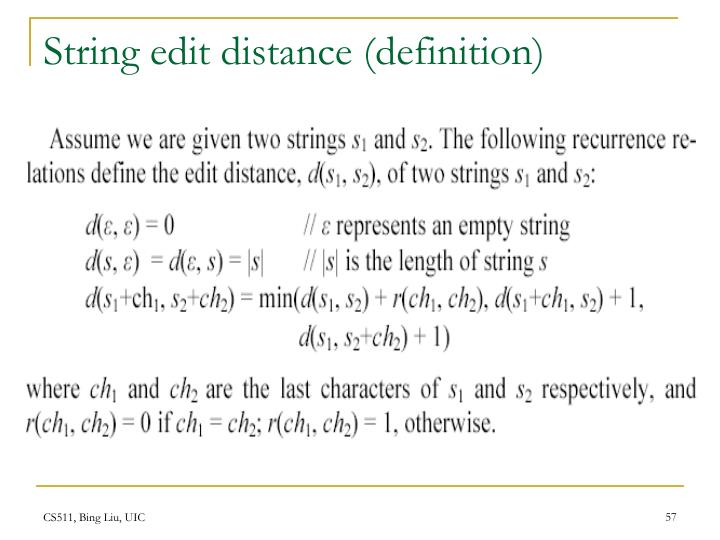 String edit distance (definition)