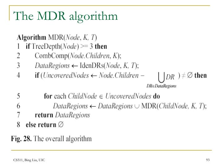 The MDR algorithm