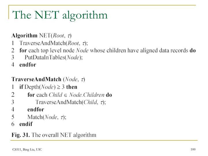 The NET algorithm