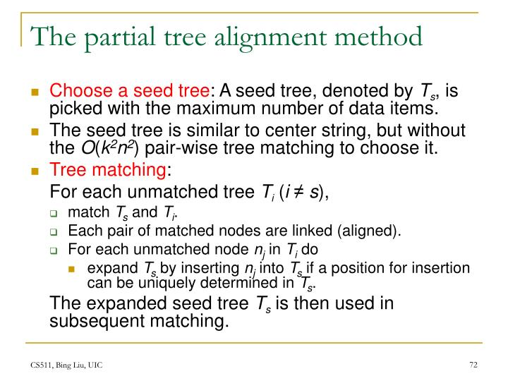 The partial tree alignment method