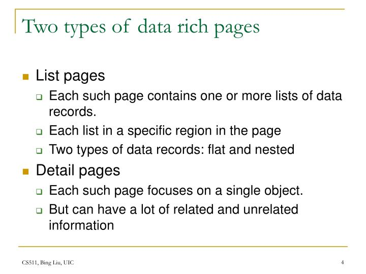 Two types of data rich pages