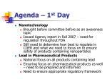 agenda 1 st day