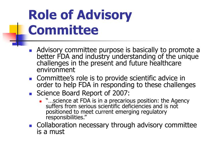 Role of Advisory Committee
