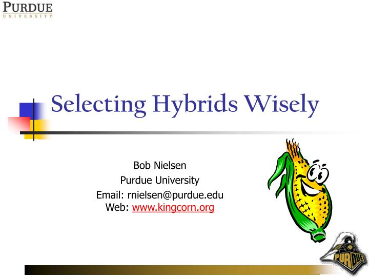 selecting hybrids wisely n.