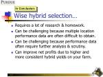 wise hybrid selection