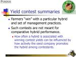 yield contest summaries