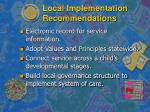 local implementation recommendations