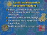 local implementation recommendations1