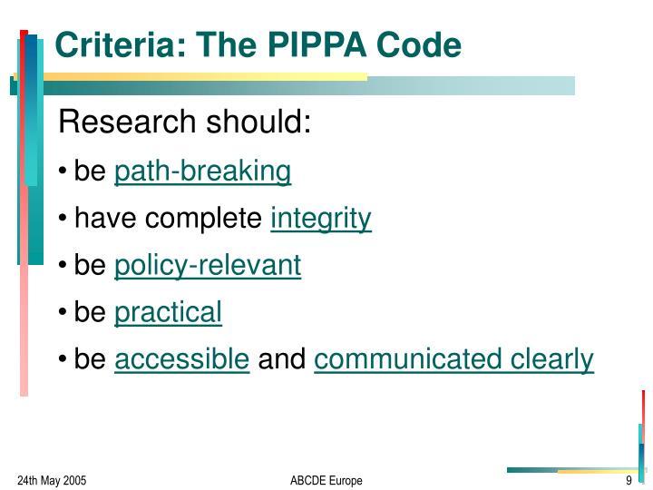 Criteria: The PIPPA Code