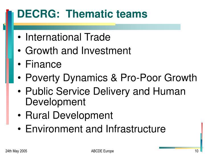 DECRG:  Thematic teams