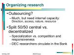 organizing research