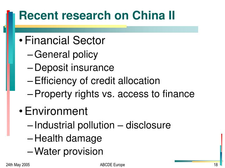 Recent research on China II