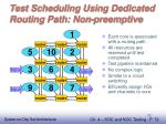 test scheduling using dedicated routing path non preemptive