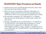 tr architect major procedures and results