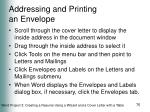 addressing and printing an envelope