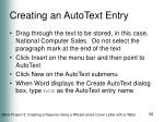 creating an autotext entry