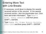 entering more text with line breaks