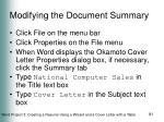 modifying the document summary