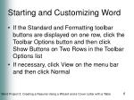 starting and customizing word1