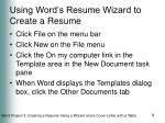 using word s resume wizard to create a resume