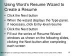using word s resume wizard to create a resume2
