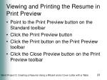 viewing and printing the resume in print preview