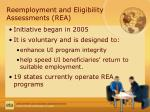 reemployment and eligibility assessments rea