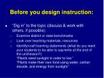 before you design instruction
