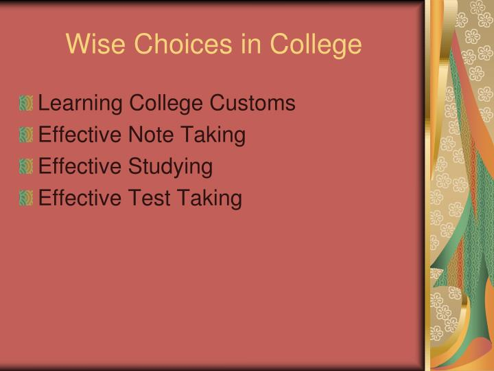 wise choices in college n.