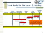 stock available backward scheduling