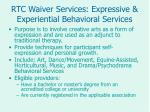 rtc waiver services expressive experiential behavioral services