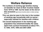 welfare reliance