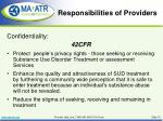 responsibilities of providers