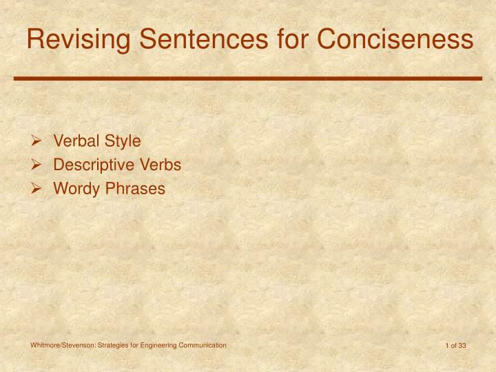 revising sentences for conciseness n.