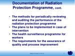 documentation of radiation protection programme cont