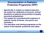 documentation of radiation protection programme rpp